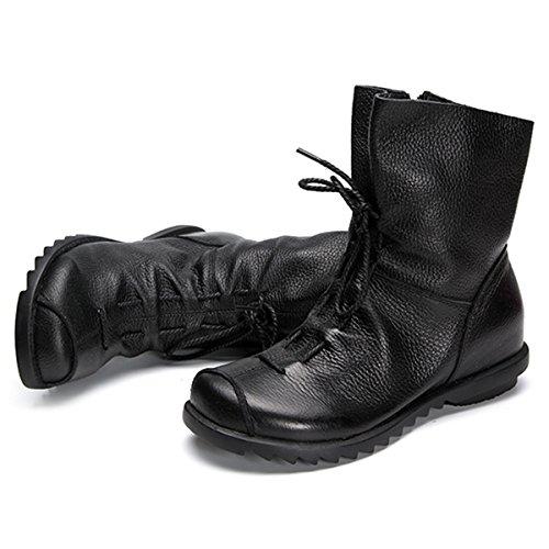 Socofy Damen Stiefeletten, Halbschaft Stiefel Flache Schnürstiefel Ankle Boots Langschaftstiefel Damen Stiefelette Witer Schuhe(Hersteller-Größentabelle IM Bild Beachten) Schwarz