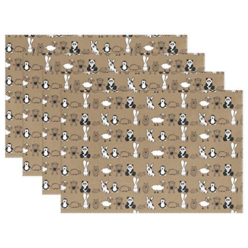 Toddy Astridd Rabbit Panda Monkey Penguin Placemats Heat-Resistant Dining Table Polyester Fiber (Polyester) Single-Sided Printing (one Pack)