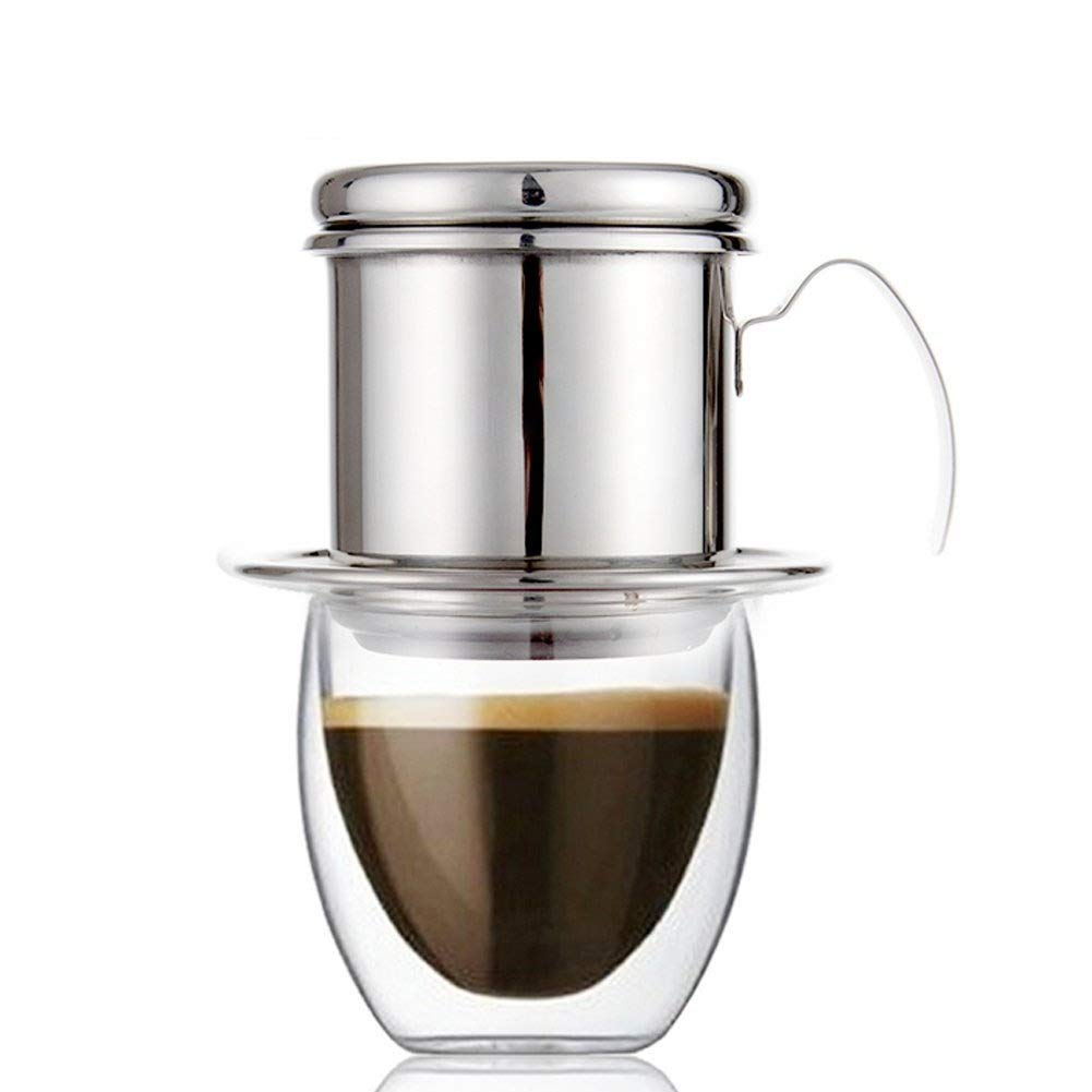 ECHI Coffee Percolator, Stainless Steel Vietnamese coffee Drip filters, Single Cup Coffee Drip Pot Brewer - Portable, Paperless for Home Kitchen Office Outdoor Use