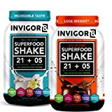 INVIGOR8 Superfood Shake (Choc and Vanilla Bundle) Gluten-Free Non GMO Meal Replacement Grass-Fed Whey Protein Shake with Probiotics and Omega 3 (1290g) For Sale