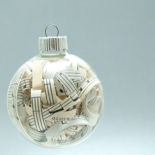 Vintage Sheet Music Christmas Ornament - 2.62 Inch Glass Ornament with 1/4 Inch Strips (Last Midnight Sheet Music)