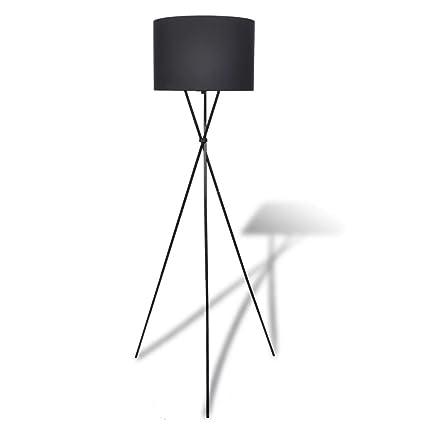 vidaXL Lámpara de Pie Moderna con Pantalla Redonda de Tela Negra Luz de Suelo