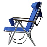 New Beach Chair Backpack Folding Portable Blue Solid Construction Camping (Stock US)