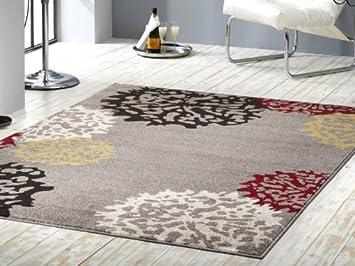 Kurzflor Velours Teppich Dandelion | Grau, Braun, Gelb, Rot, Creme, Größe