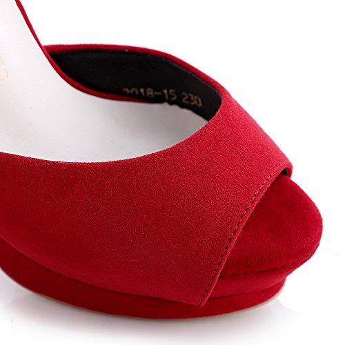 Aalardom Femmes Givré Boucle Peep Toe Talons Hauts Sandales Rouges