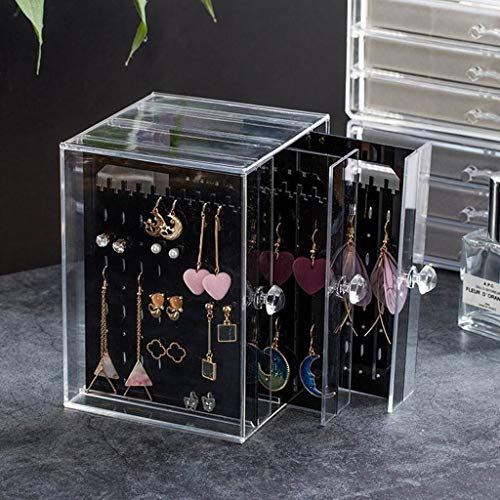 Gotian 3-Layers Transparent Jewelry Display Shelf showing Shelf Earrings Display Stand, Small Space, Large Capacity, Perfect for Storing or Displaying your Favorite Jewelry (Black)