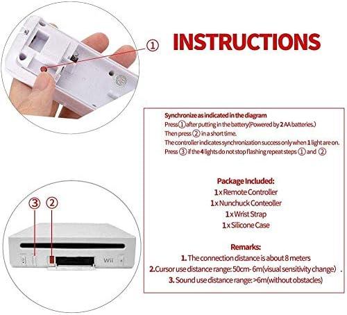 SogYupk - Mando a distancia Wii con Nunchaku Joystick, utilizado para Nintendo Wii y Wii U Consola, Gamepad con funda de silicona y correa de muñeca (1 juego), color blanco 6