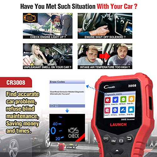 LAUNCH CRP3008 Creader 3008 Professional OBD2 Scanner Enhanced OBDII EOBD Code Reader, One-Key Check Engine Light I/M Readiness O2 Sensor Systems Battery Test Diagnostic Scan Tool-Free Update by LAUNCH (Image #4)