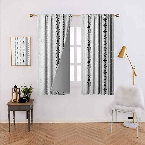 Curtains for Kitchen Vertical Stripes with Geometric Floral Old Fashioned Motifs Rangoli Inspired Design Black White Prevent Light from Shining 55