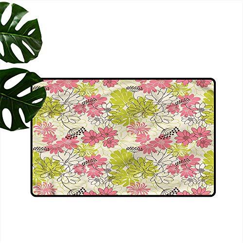 """HOMEDD Crystal Velvet Doormat,Floral Pastel Petals Blooming,Easy Clean Rugs,24""""x16"""""""