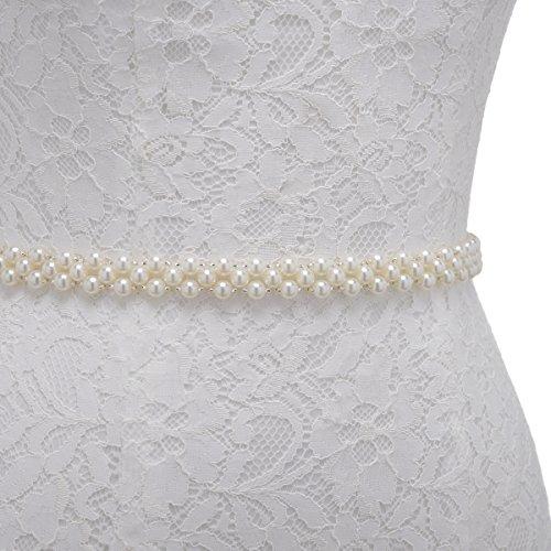 Remedios Ivory Pearls Bridal Wedding Sash with Organza Ribbon