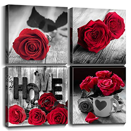 Floral Canvas Prints Wall Art Decor Framed Black and White Red Rose Flowers Home Love Wood Pictures Posters Modern Contemporary Artwork Bedroom Homes Decoration Hanging Set 4 Pieces 12