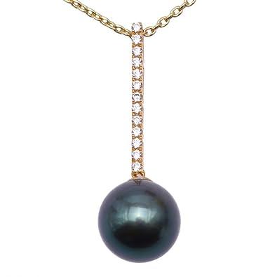 14K Or Blanc Noir Perle de culture deau douce de qualité AAA 7–7,5mm Collier Femme