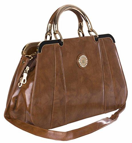 Big Handbag Shop - Bolso de asas de piel sintética para mujer Talla única Medium Tan