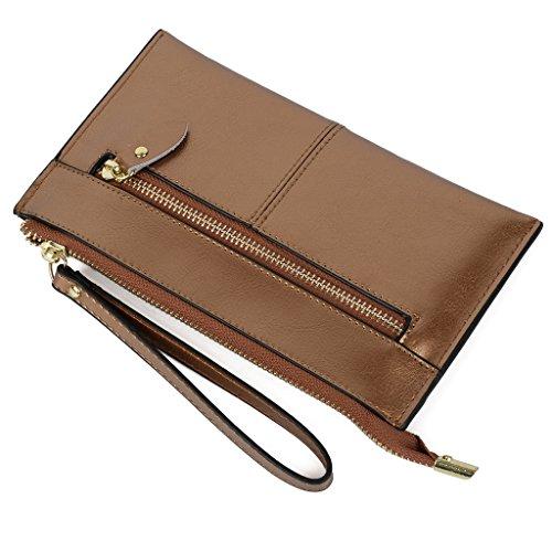 Yaluxe Women's Large Leather Zipper Pocket Purse Clutch ...