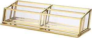 Hipiwe 4 Slots Glass Business Card Holder Stand - Vintage Gold Metal Name Card Display Stand Office Desktop Countertop Business Card Organizer