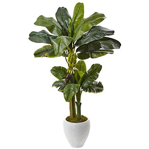 Nearly Natural 5967 5' Double Stalk Banana Tree in White Planter (Shop Banana Furniture Tree)