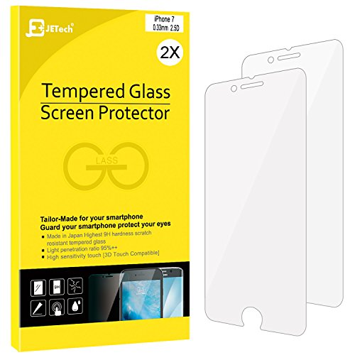 iPhone 7 Screen Protector, JETech 2-Pack Premium Tempered Glass Screen Protector for Apple iPhone 7 4.7