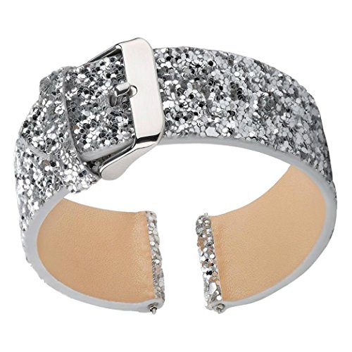 Price comparison product image Fitbit Versa Bands,  Boofab Shiny Glitter Bling Luxury Faux Leather Wristband Bracelet Belt Replacement Band Strap Accessories Sparkly Strap Bracelet for Fitbit Versa Smartwatch Women Men (silver)