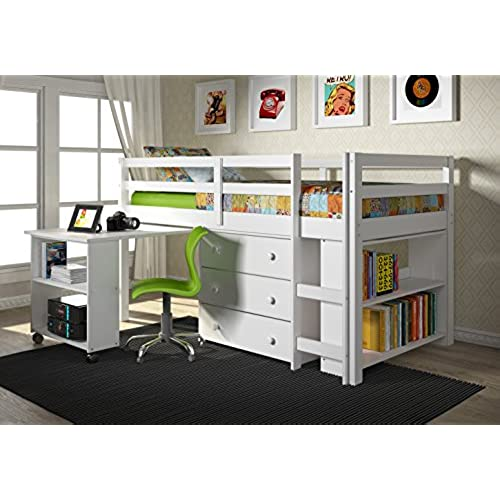 White Loft Beds With Desk Amazon Com