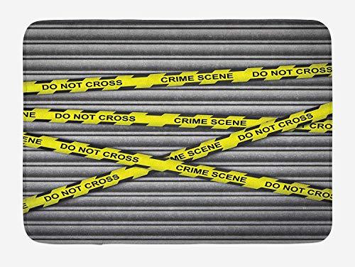 ce Bath Mat, Crime Scene Investigation Do Not Pass Yellow Wraps Quotes Work Art Print, Plush Bathroom Decor Mat Non Slip Backing, 23.6 W X 15.7 W Inches, Yellow Grey Black ()