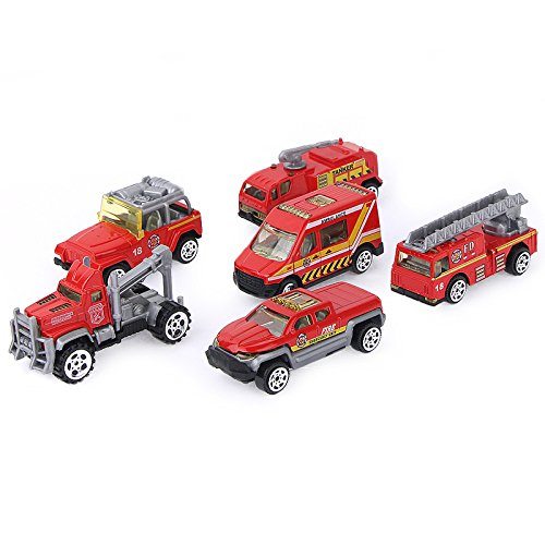 SODIAL 6 Sets Inertia Toy Die-cast Slide Fire Truck Toy Play Vehicles Advanced Simulation Model Miniature Car Toys for Kids 150784