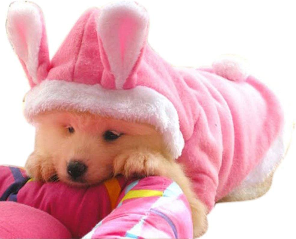 L WORDERFUL Pet Dog Rabbit Costume Puppy Hoodies Winter Coat Bunny Autumn Winter Halloween Small Dog Cat