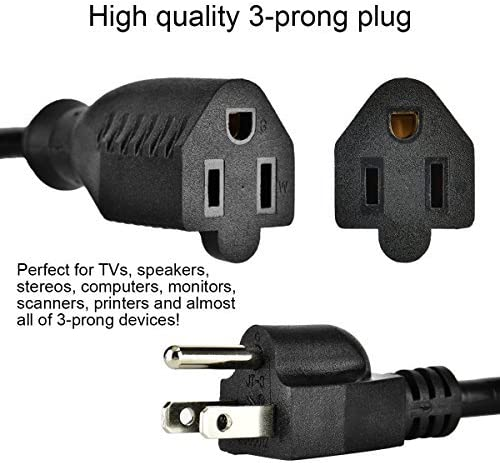 Etekcity 10 Pack 1 Foot Power Extension Cord Cable 16AWG 3 Prong Outlet Saver