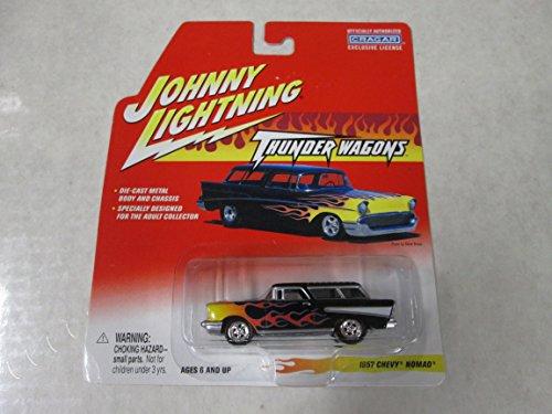 Johnny Lightning Thunder Wagons 1957 Chevy Nomad Black w/flames - Chevy Nomad Wagon