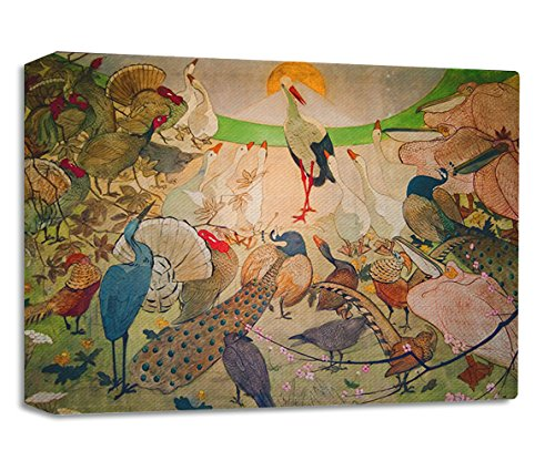 Birds Art Nouveau Poster Streched Canvas Wrap Frame Print Wall Décor - Full Border, 36