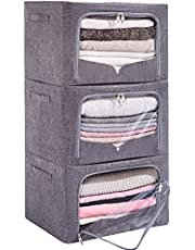 3 Pack Clothes Storage Bins - Foldable Metal Frame Storage Box - Stackable Linen Fabric Container Organizer Set with Carrying Handles and Clear Window