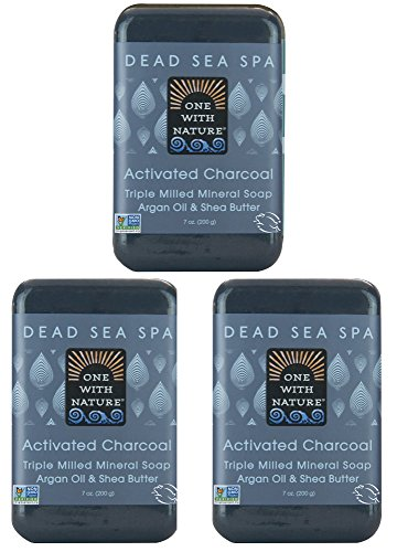 DEAD SEA Salt CHARCOAL SOAP 3 pk – Activated Charcoal, Shea Butter, Argan Oil. For Problem Skin, Skin Detox, Acne Treatment, Eczema, Psoriasis, Antibacterial, Anti Aging, Natural Fragrance 3/7 oz ()