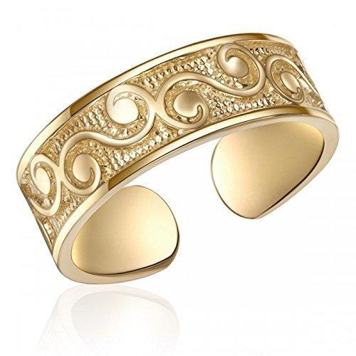 10K Yellow Gold Filigree Design Toe Ring, Real 10K Gold Toe Ring, 10K Genuine Yellow Gold Toe Ring, Stylish Gold Filigree Design Toe Ring, One Size Fits All Gold Toe Ring