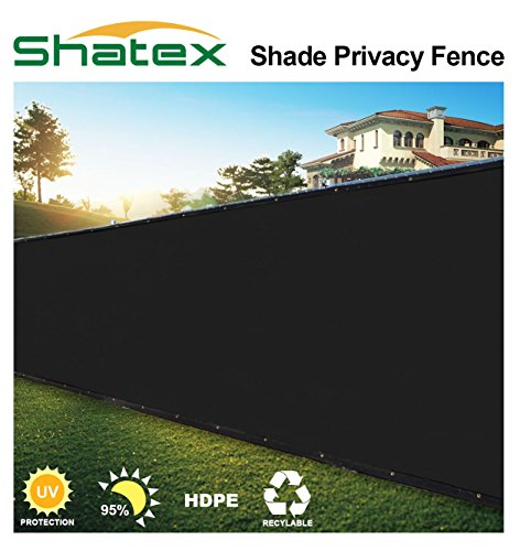 Shatex Pro Security and Privacy Windscreen,Black, 6'x15′ with Grommets and Zip Ties for Quick Installation Heavy Duty Privacy Shade for Garden Yard, Commercial Construction Site, Deck, Balcony Cover