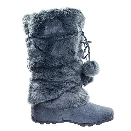 Rabbit Fur Mukluk (Blossom Mukluk Wrap Around Mid Calf Faux Fur Boots, Women Winter Snow Boot)