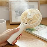 Lychee Upgrade Portable 2 in 1 Handhold Misting Fan Personal Cool Mist Humidifier With Rechargeable Battery Operated Mini Fan,USB Powered Misting Humidifier for Home Travel, Outdoor Sports. (White)