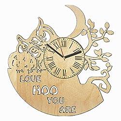 Wood wall clock Night Owl, Animal Wood Clock, Owl Wall Clock Modern, Gift for Kids, Wooden Wall Clock Vintage, Handmade Art, Birthday Gift