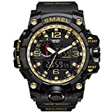 1000 faces of fear - Imperiu Men's Sports Digital Analog Stylish Watch Dual Electronic Quartz Movement Backlight with Outdoor Waterproof-Gold