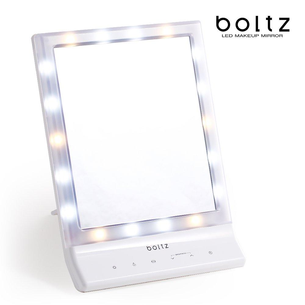 LOWYA (ロウヤ) boltz LED ライト ミラー 卓上 メイクアップミラー タイマー 明るさ 3モード 5段階 ミラー単品 ホワイト 一人暮らし おしゃれ 新生活 B0188S60FE ミラー単品 ホワイト ホワイト ミラー単品