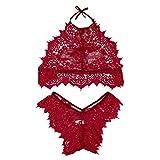 LUCA Lingerie Set,2019 Women Fashion Lingerie Lace Flowers Push Up Top Bra Pants Underwear Set Wine Red