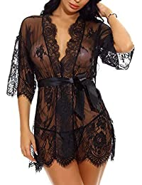 12dc56d365b Lingerie for Women Sexy Long Lace Dress Sheer Gown See Through Kimono Robe
