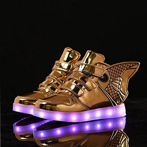 Goldfish Licht Schuhe Kinder mit Flügeln Licht Schuhe Feuer Kinder Schuhe USB Lade Licht Schuhe Gold