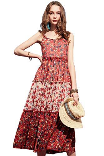 (Artka Women's Vintage Floral Chiffon Spaghetti Strap Layered Maxi Dress with Tank Empire Waist Tassel Swing Skirt Red Large)