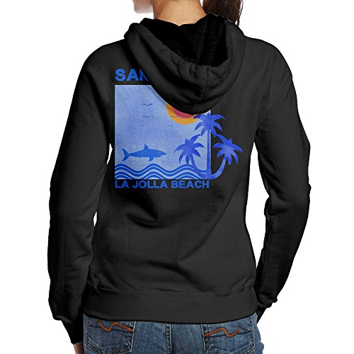 Women's Surf And Surfing In La Jolla Beach San Diego Fashion Casual Print Pullover Hooded Sweatshirt Hoodies S
