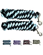 Majestic Ally Pack of 2 Solid Cotton Lead Rope for Horses & Livestock – 10 Foot Long and 5/8 inch Thick - Replaceable Heavy-Duty Satin Bolt Snap – Handmade – Soft, Broken in Feel (Sky Blue - Black)