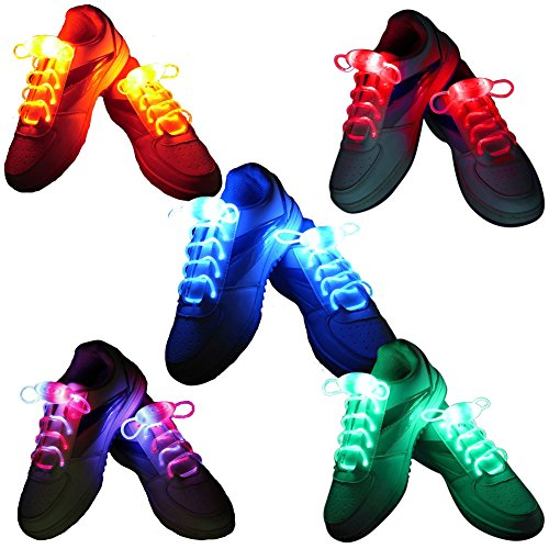 YiZYiF 5x Paar LED Schnürsenkel Leucht Blinkende Schuhband für Hip-hop Tanzen Party Disco Fashing (5X Paar)