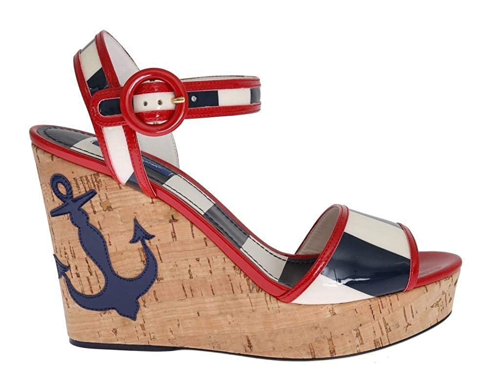 Multi Red White bluee Wedges Platform Sandals