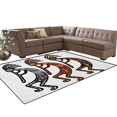 Southwestern,Rug,Ancient Fertility Deity Figures Tribal Art Inspired by Religion and Mythology,Oriental Floor and Carpets,Multicolor Size:5'x8'
