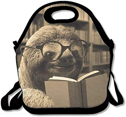 Sloth Reading Books Insulated Lunch Bag Picnic Lunch Tote For Work, Picnic, Travelling ()