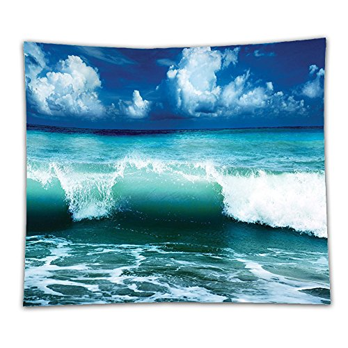 Beshowereb Fleece Throw Blanket Ocean Surf Waves Decor Caribbean Sea and Water Splash Picture for Surfers Print Kids Girls Boys Navy